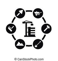 vetorial, jogo, construção, pretas, ícone