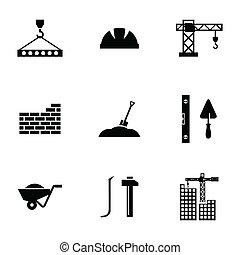 vetorial, jogo, construção, pretas, ícones