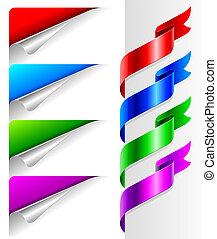 vetorial, jogo, -, cores, dobrado, papel, cantos, e, fita