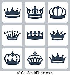 vetorial, jogo, coroas, ícones