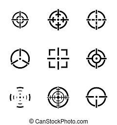 vetorial, jogo, crosshair, balck, ícones