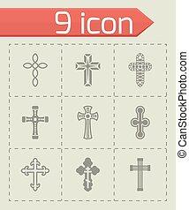 vetorial, jogo, cruzes, ícone
