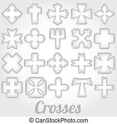 vetorial, jogo, cruzes