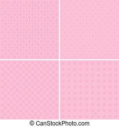vetorial, jogo, de, 4, fundo, padrões, em, pálido, pink.