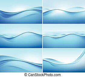 vetorial, jogo, de, abstratos, onda azul, fundos