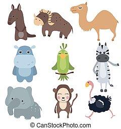 vetorial, jogo, de, africano, animais