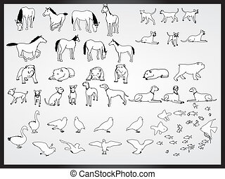 vetorial, jogo, de, animais, fundo