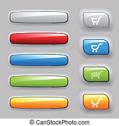 vetorial, jogo, de, bandeiras, e, botões