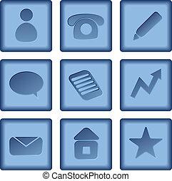 vetorial, jogo, de, botões azuis, com, ícones negócio, isolado, branco, experiência.