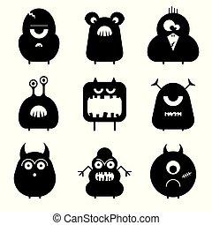 vetorial, jogo, de, caricatura, cute, engraçado, monstros, isolado, ligado, white., silhuetas