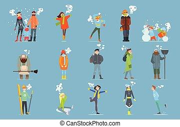 vetorial, jogo, de, caricatura, homens, mulheres, meninas, e, boys., ao ar livre, activities., gelado, e, nevado, weather., apartamento, pessoas, caráteres, vestido, em, morno, chapéus, inverno, jaquetas, scarfs, camisolas de malha