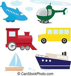 vetorial, jogo, de, caricatura, transporte