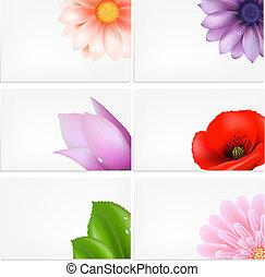 vetorial, jogo, de, cartões comemorativos, com, flores