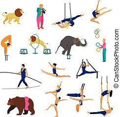 vetorial, jogo, de, circo, artistas, acrobatas, e, animais, isolado, branco, experiência., ícones, desenho, elements.