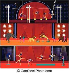 vetorial, jogo, de, circo, interior, conceito, banners., acrobatas, e, artistas, execute, mostrar, em, arena.