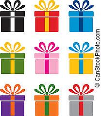 vetorial, jogo, de, coloridos, caixa presente, símbolos