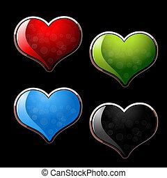 vetorial, jogo, de, corações, -, eps, 10