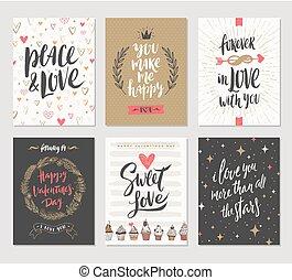 vetorial, jogo, de, dia valentine, mão, desenhado, cartazes, ou, cartão cumprimento, com, manuscrito, caligrafia, citação, frase, e, illustrations.