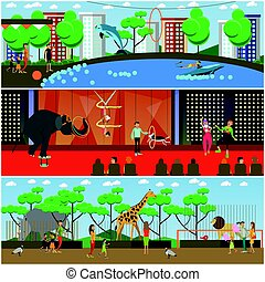 vetorial, jogo, de, dolphinarium, circo, e, jardim zoológico, apartamento, cartazes, bandeiras