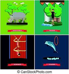 vetorial, jogo, de, dolphinarium, jardim zoológico, e, circo, cartazes, apartamento, estilo
