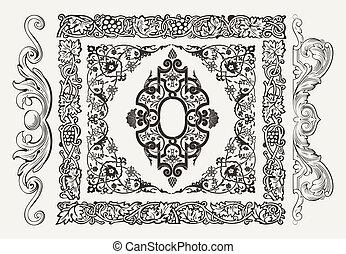 vetorial, jogo, de, dourado, ornate, página, decoração, elements:, fronteiras, bandeira, divisores, ornamentos, e, padrões