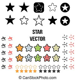vetorial, jogo, de, estrela, icons., ilustração, isolado, branco, experiência.