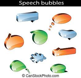 vetorial, jogo, de, fala, bolhas
