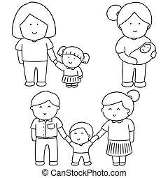 vetorial, jogo, de, família