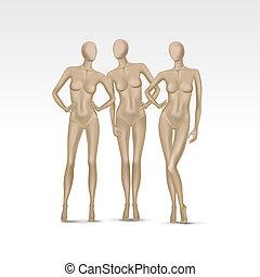 vetorial, jogo, de, isolado, femininas, mannequins