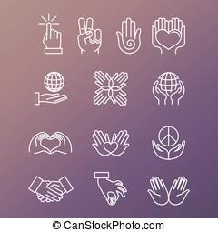 vetorial, jogo, de, linear, mão, ícones, e, gestos