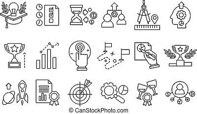 vetorial, jogo, de, linha, icons., esperto, solução, idéias novas, researches, metas, realização, produtividade, improvement., sucesso, e, development., elemento, para, site web, ou, móvel, app