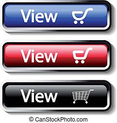 vetorial, jogo, de, loja, botões