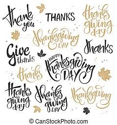 vetorial, jogo, de, mão, lettering, ação graças, dia, citação, -, feliz, ação graças, dar, obrigado, e, outros, escrito, em, vário, estilos