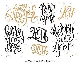 vetorial, jogo, de, mão, lettering, ano novo, citação, -, feliz ano novo, e, números, escrito, em, vário, estilos