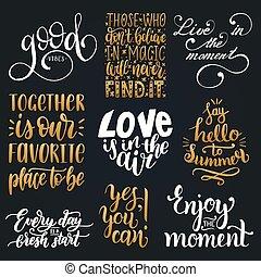 vetorial, jogo, de, mão, lettering, com, motivational, phrases.calligraphy, inspirational, citação, collection.