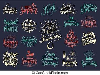 vetorial, jogo, de, mão, lettering, com, motivational, verão, phrases., caligrafia, inspirational, feriado, citação, cobrança