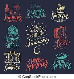 vetorial, jogo, de, mão, lettering, com, verão, motivational, frases, e, sketches., caligrafia, inspirational, citação, collection.