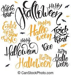 vetorial, jogo, de, mão, lettering, dia das bruxas, citação, -, feliz, dia das bruxas, truque deleite, e, outros, escrito, em, vário, estilos
