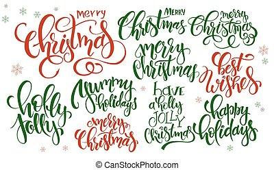 vetorial, jogo, de, mão, lettering, natal, citação, -, feliz natal, holly, jovial, e, outros, escrito, em, vário, estilos