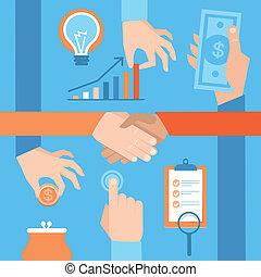 vetorial, jogo, de, mãos, -, dinheiro, e, aperto mão
