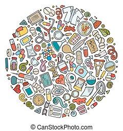 vetorial, jogo, de, médico, caricatura, doodle, objetos