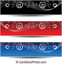 vetorial, jogo, de, ornamento, bandeiras