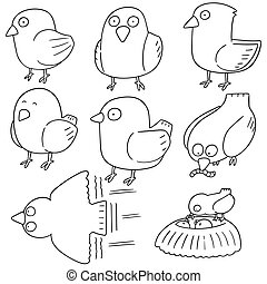 vetorial, jogo, de, pássaro