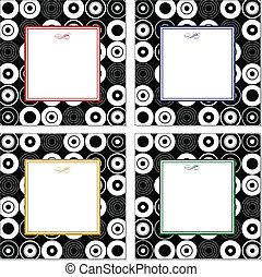 vetorial, jogo, de, ponto, padrão, bordas