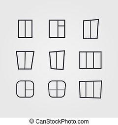 vetorial, jogo, de, pretas, silhuetas, de, janelas, isolado, branco, fundo