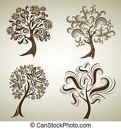 vetorial, jogo, de, projetos, com, árvore, de, leafs., ação...