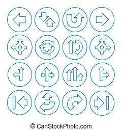 vetorial, jogo, de, setas, ícones, isolado, branco