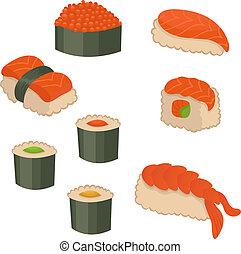 vetorial, jogo, de, sushi