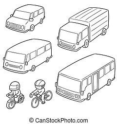 vetorial, jogo, de, transporte