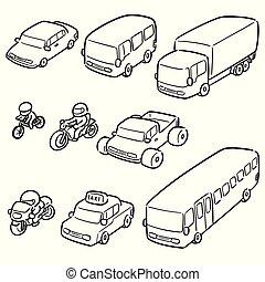 vetorial, jogo, de, transporte, e, veículo